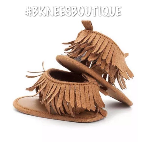 Other - Babygirl Leather Fringe Tassel Flat Sandals ☀️